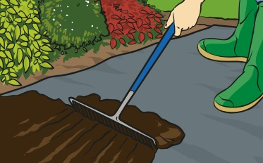 A person using a garden rake to apply Irish Moss Peat as a mulch.