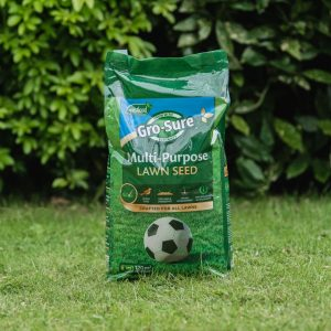 gro-sure multi-purpose lawn seed 120m on lawn