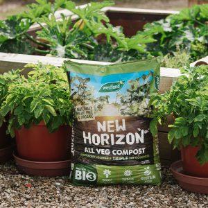 new horizon all veg compost with potato tubs