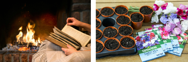 Image of a roaring fire. Image of sweetpea sowing.