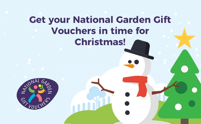Banner calling for people to buy National Garden Gift vouchers.