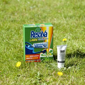 Resolva Lawn Weedkiller Extra Liquid Shots on grass