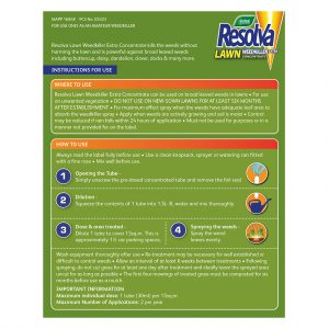 Resolva Lawn Weedkiller Extra Liquid Shots back of pack