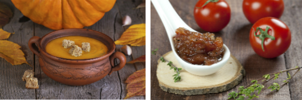 Images of pumpkin soup and tomato chutney.