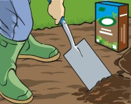 Image of a person with a spade applying farmyard manure to a patch in a lawn.