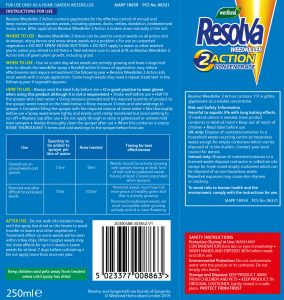 Resolva weedkiller 2 action concentrate back of pack