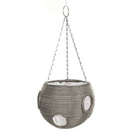 Rattan Effect Light Grey Hanging Ball