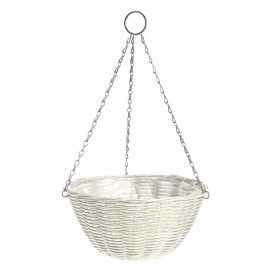 Rattan Effect Cream Hanging Basket