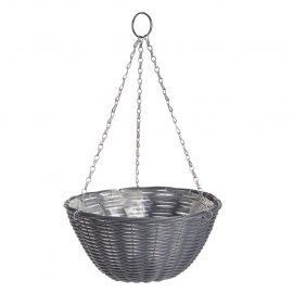Rattan Effect Dark Grey Hanging Basket