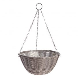 Rattan Effect Grey Hanging Basket