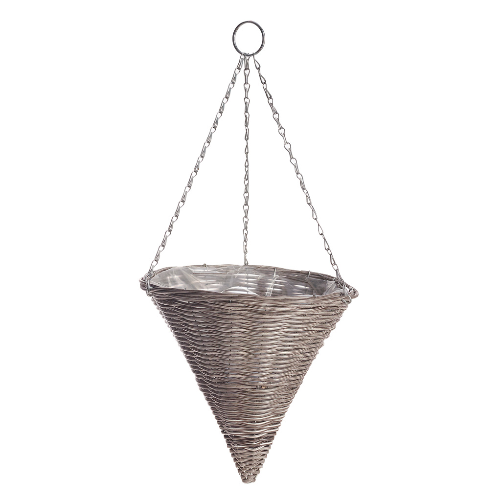 Rattan Effect Light Grey Hanging Cone