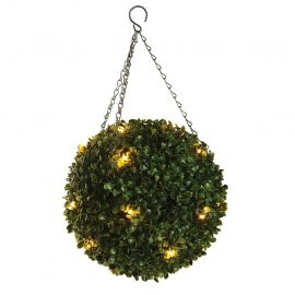 Artificial Pre-lit Buxus Topiary Ball