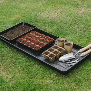 grow bag tray with pots