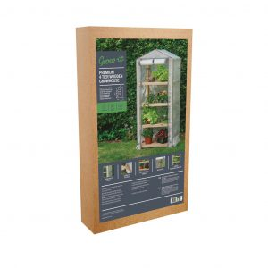 premium 4 tier wooden growhouse in pack