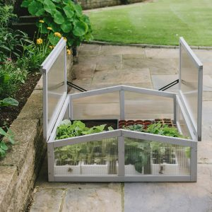 dove grey cold frame fully opened