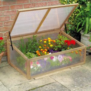 wooden cold frame natural on patio