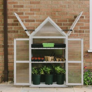 wooden growhouse dove grey fully open