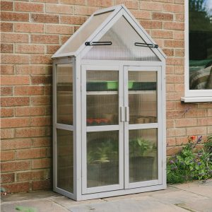 wooden growhouse dove grey closed