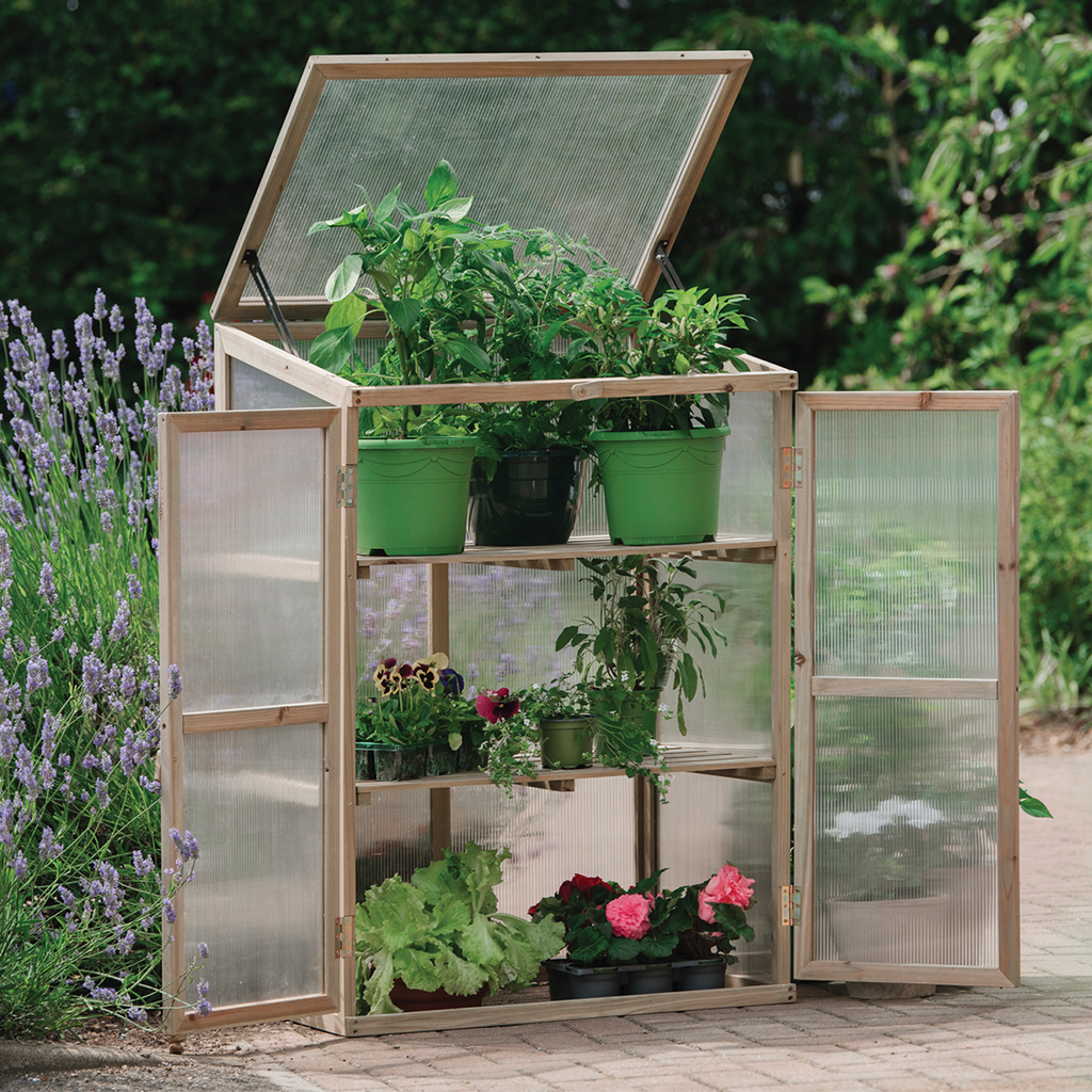 wooden growhouse natural with plants