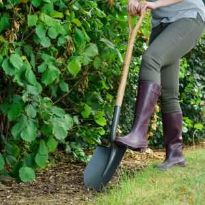 Kent & Stowe Carbon Steel Round Nose Shovel in ground