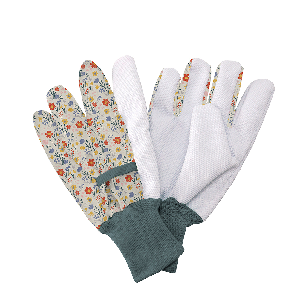 Cream Meadow Flowers Cotton Gloves