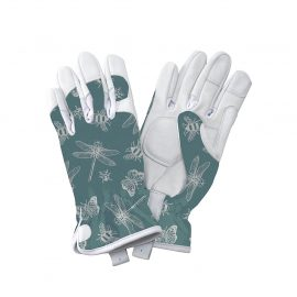 Teal Flutter Bugs Leather Gloves