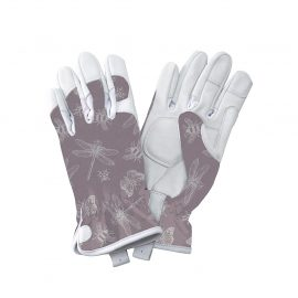 Purple Flutter Bugs Leather Gloves