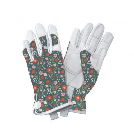 Teal Meadow Flowers Leather Gloves