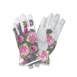Grey Peony Print Leather Gloves