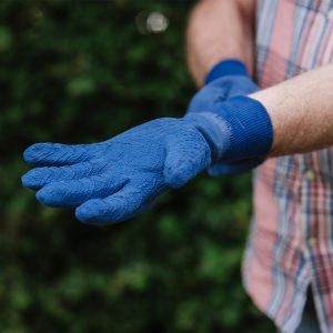 putting on navy ultimate all round gardening gloves