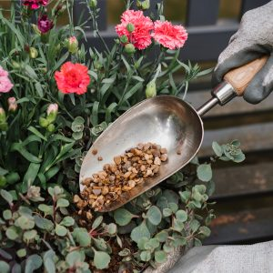 kent & stowe stainless steel hand potting scoop in use