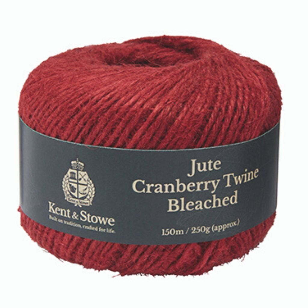 Kent & Stowe Jute Twine Bleached Cranberry in pack