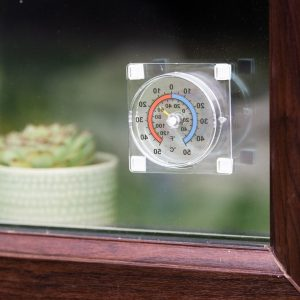 window thermometer in use